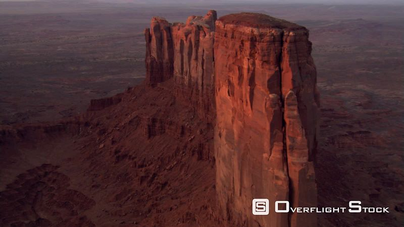 Flight through notch in Monument Valley's Stagecoach Butte