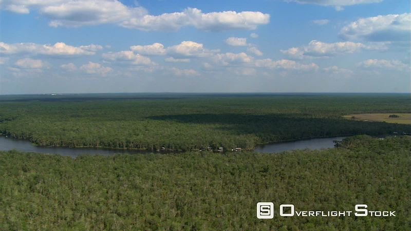 Cloud shadow on extensive forest along a placid river beneath a slow flight