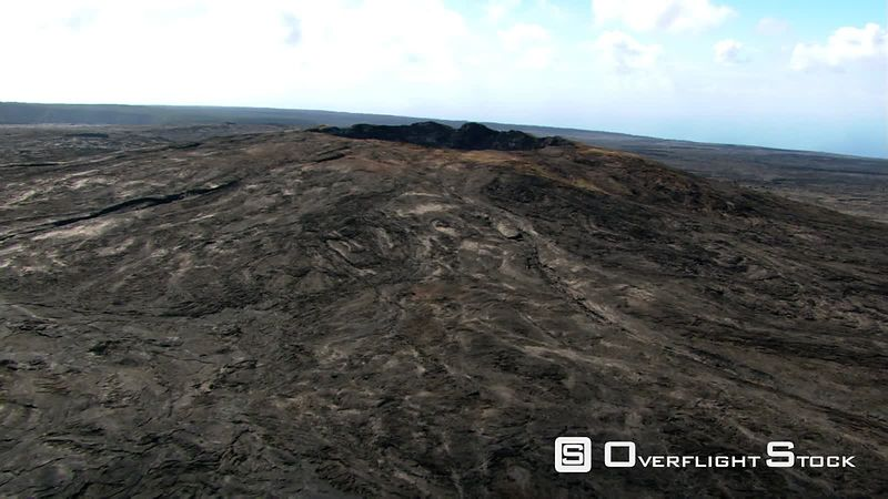Orbiting Kilauea cinder cone in Hawaii