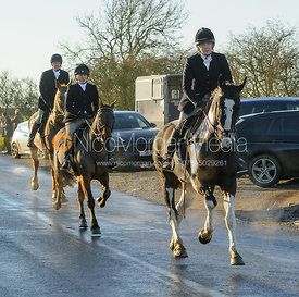 Hilary Butler on Leesthorpe Road - The Cottesmore Hunt at Pickwell Manor 28/12