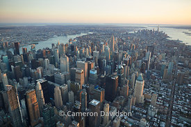Aerial photograph of Manhattan, New York City in the late afternoon