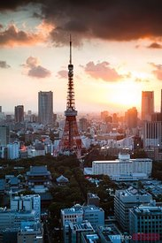 Awesome sunset over the Tokyo tower, Japan