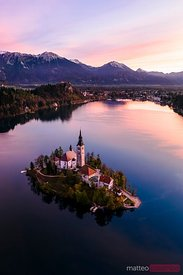 Aerial drone view of lake Bled at dawn, Slovenia