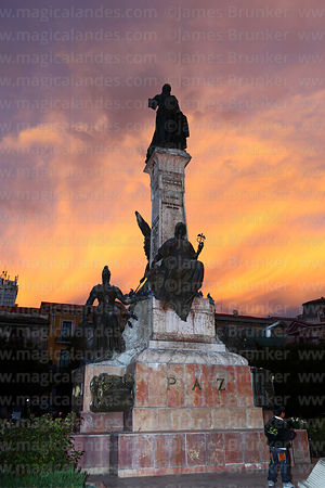 Murillo monument at sunset, Plaza Murillo, La Paz, Bolivia
