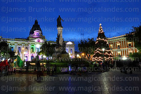 Christmas decorations, Congress building and Murillo monument after sunset, Plaza Murillo, La Paz, Bolivia