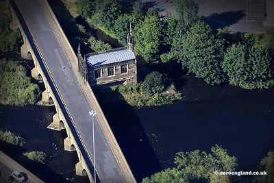 aerial photograph of Chantery Chapel &  Bridge over the River Calder in Wakefield, West Yorkshire, England UK.