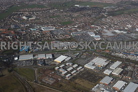 Widnes high level aerial photograph looking across from Dennis road and Fiddlers Ferry road towards Ashley Way and various retail and business parks and the town centre