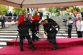 Navy officials place the remains of Eduardo Abaroa on a platform for the military parades, Plaza Avaroa, La Paz, Bolivia