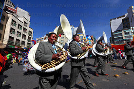 Sousaphone players during parades for Gran Poder festival, La Paz, Bolivia