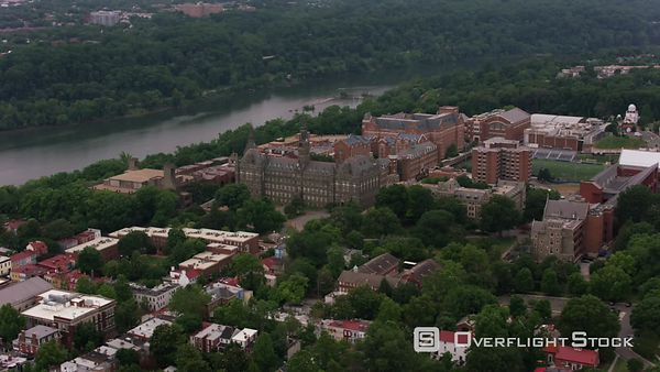 Washington, D.C. Aerial view of Georgetown University.  Shot with Cineflex and RED EpicW Helium.