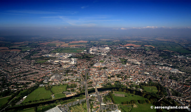 aerial photograph of Hereford Herefordshire England UK
