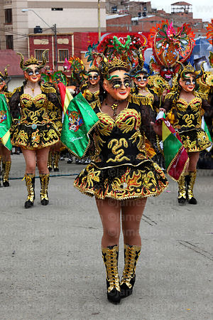 China Supay female devils dancing the Diablada dance, Oruro Carnival, Bolivia