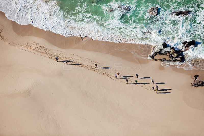 Aerial photograph of hikers on the whale trail, de Hoop Nature Reserve, Indian Ocean, South Africa, Western Cape Province, August 2010