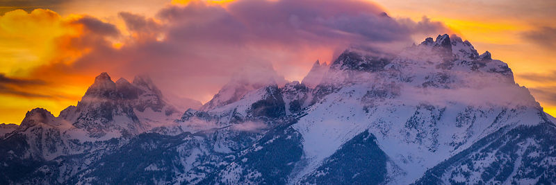 Winter Sunset in Grand Tetons National Park.  Jackson, Wyoming.