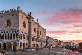 Sunrise over Doge's palace and Lion of St Mark, Venice