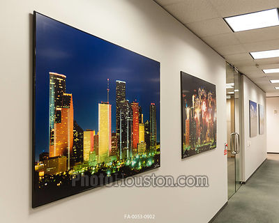 Photo art on the wall in a corporate office