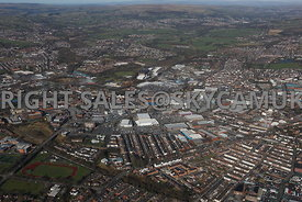Bury high level aerial photograph of the Town centre and the new shopping centre and the surrounding industrial estates