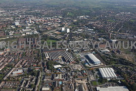 Oldham wide angle aerial photograph of waste recycling centre Arkwright Street and Lansdowne road and Middleton road area of Chadderton looking towards Oldham town centre