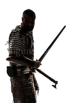A semi-silhouette of a wealthy Viking in armour – shot from mid level.