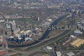 Manchester view of the Pomona docklands area looking from Pomona Strand towards Cornbrook Metrolink station and Regent road