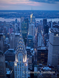 Aerial of the Chrysler Building in the early evening