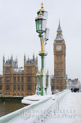 Westminster bridge in winter.