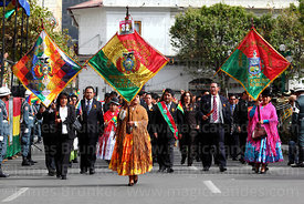 Members of the La Paz Department Regional Government during Independence Day parades, La Paz, Bolivia