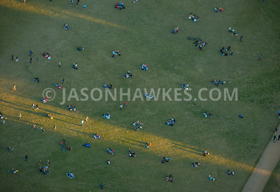 Aerial View Of London Close Up People Sitting In Hyde Park