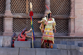 The Inca on wall of Coricancha / Sun Temple at start of Inti Raymi festival, Cusco, Peru