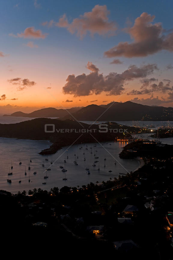 Elevated view over English Harbour and Nelson's Dockyard from Shirley Heights at dusk, Antigua, Antigua and Barbuda, Leeward Islands, Lesser Antilles, Caribbean, West Indies, 2012