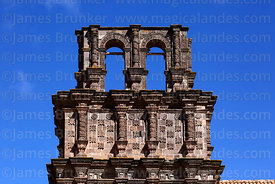 Detail of unfinished belfry of Nuestra Señora de la Asunción church, Juli, Puno Region, Peru