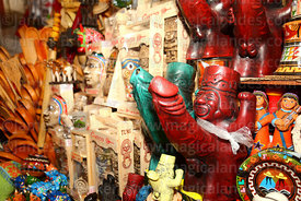 Stall selling replicas of erotic Mochica pottery, San Pedro market, Cusco, Peru