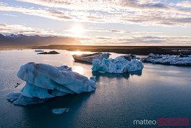 Aerial view of Jokulsarlon glacial lake at sunrise, Iceland