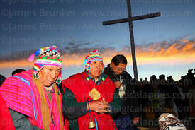 Aymara shamans or amautas perform rituals at sunrise for Aymara New Year celebrations, La Paz, Bolivia
