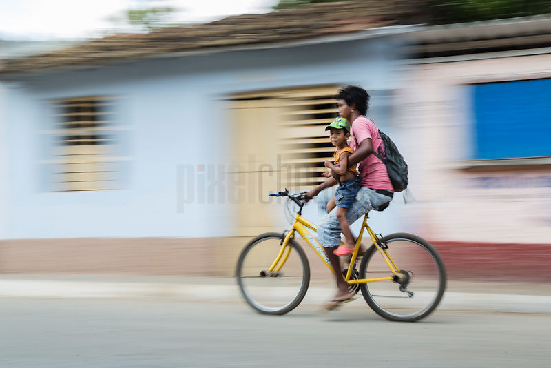 Mother and Child on Bicycle