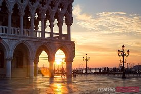 Sunrise over Piazzetta San Marco and Doges palace, Venice