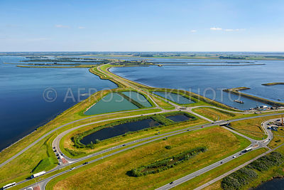 The northern part  of the Philipsdam and its conection on the Grevelingen Dam, Delta Works, South-Holland, Zeeland, the Netherlands,