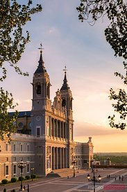 Cathedral de la Almudena at sunset, Madrid, Spain