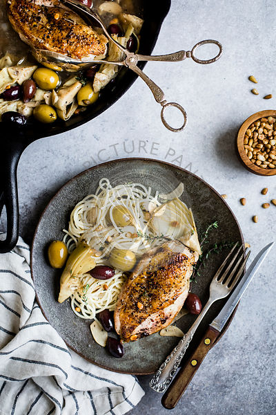 Garlic White Wine Skillet Chicken with Olives & Artichokes