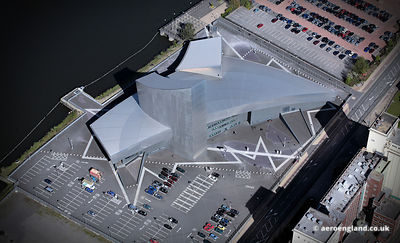 aerial photograph of the Imperial War Museum North near  Salford Quays  Greater Manchester  England UK