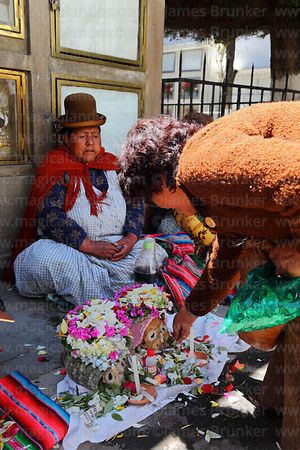 Devotee offering coca leaves to skull in cemetery, Ñatitas festival, La Paz, Bolivia