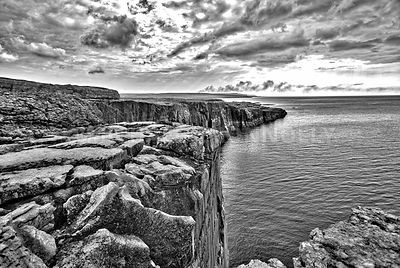 Where the Burden Meets The Atlantic (B&W)- County Clare, Ireland