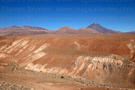Lomas Pintadas and Sairecabur (L) and Licancabur (R) volcanos, near San Pedro de Atacama, Region II, Chile
