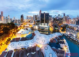 Elevated view of business district at dawn, Clarke Quay, Singapore