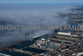 Liverpool aerial photograph of low lying cloud and fog over the River Mersey and Liverpool Docks