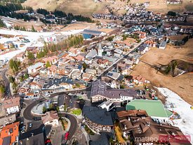 Aerial view of Corvara town in the Dolomites