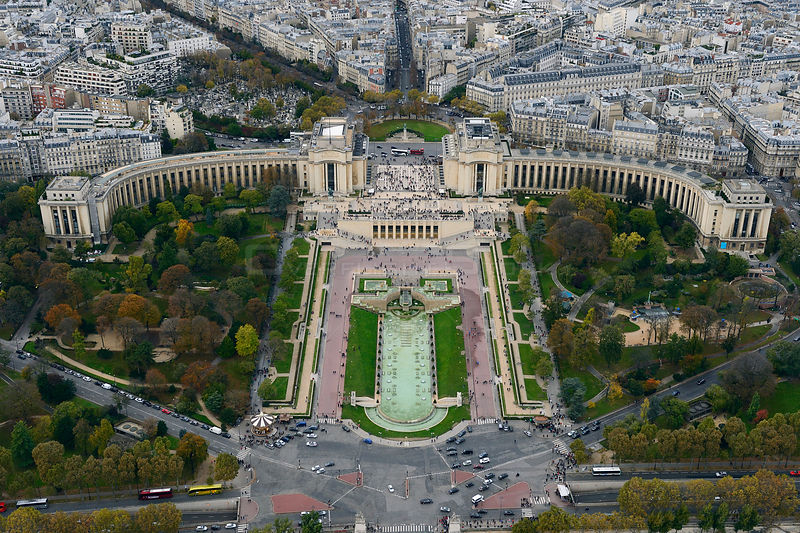 View from the Eiffel Tower of Palais de Chaillot, Paris, France, November 2013.