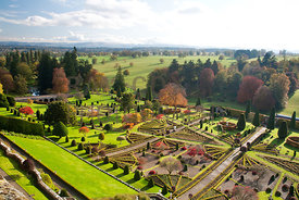 View from tower over formal gardens and Perthshire countryside