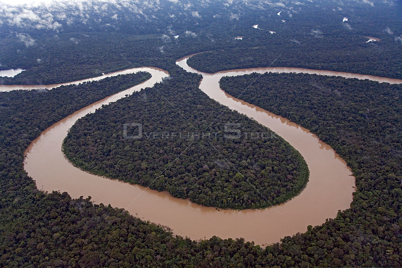 Aerial view of meander in Rio Yavari, Amazonia, Peru