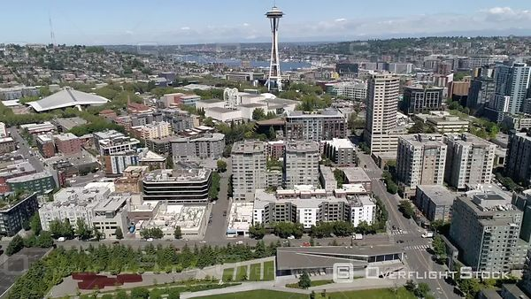 Pacific Northwest Seattle Washington Drone Video of the Waterfront Downtown Cityscape with Space Needle